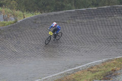 Circuit championship in bmx cycling, full-speed and high jump Royalty Free Stock Image