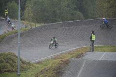 Circuit championship in bmx cycling, full-speed and high jump Stock Image