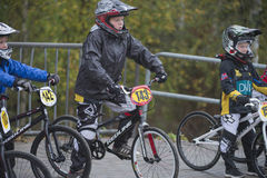 Circuit championship in bmx cycling, just before the start Stock Photo