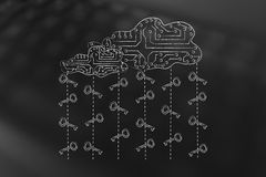 Circuit cloud with key rain, safe passwords and cloud storage Royalty Free Stock Photo