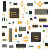 Circuit computer chips icons technology vector illustration set. Royalty Free Stock Photo