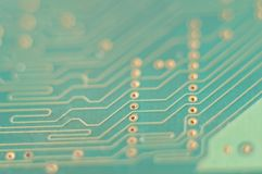 Circuit for computer turquoise, detail,. Spare Stock Image