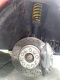 Circuit de freinage avec l'amortisseur et la suspension Images stock