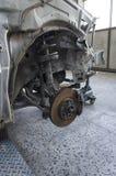 Circuit de freinage d'une voiture écrasée Image stock