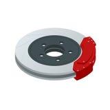Circuit de freinage isométrique d'automobile Disque de frein en acier d'aération avec des calibres et des protections de pistons  Photo stock