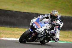 Circuit de MUGELLO - 13 juillet : Jorge Lorenzo d'équipe de Yamaha pendant la session de qualification de MotoGP Grand prix de l' Photographie stock libre de droits