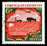 The circuit of deep explosion and air reconnaissance, Soviet Geology serie, circa 1968. MOSCOW, RUSSIA - OCTOBER 21, 2018: A stamp printed in USSR (Russia) shows royalty free stock images