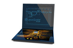 Circuit design. Laptop with circuit board on it. Hi-res digitally generated image Stock Images