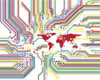 Circuit du monde de Digitals illustration stock