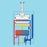 Circuit of the Gas boiler. Flat icon. Stock Photo