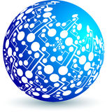 Circuit globe. Illustration art of a circuit globe with white background Stock Image