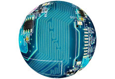 Circuit globe on white background Royalty Free Stock Image