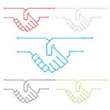 Circuit Hand Shake. Its an illustration on circuit hand shake portraying the technology partner ship or electronic collaboration etc Royalty Free Stock Photography