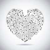 Circuit heart. Over vintage background vector illustration Royalty Free Stock Photography