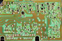 Circuit intégré, puce, cercle, tir vert de plan rapproché de carte PCB Image libre de droits