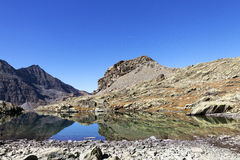 Circuit of the lakes of the mount viso, france Stock Photos