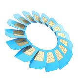 Circuit microchip SIM card round emblem isolated Stock Photography
