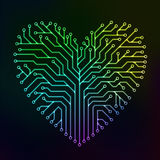 Circuit heart with multicolor Stock Photos