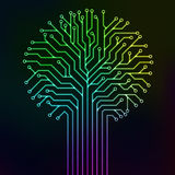 Circuit tree multicolor neon. Circuit printed board in the shape of a tree with multicolor neon lines Royalty Free Stock Image
