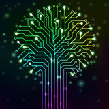 Circuit tree with multicolor neon lights. Circuit printed board in the shape of a tree with multicolor neon lights Royalty Free Stock Photo