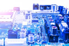 Circuitboard with resistors, microchips and electronic componentCircuitboard with resistors, microchips and electronic components. Royalty Free Stock Image