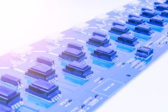 Circuitboard with resistors, microchips and electronic components. Electronic computer hardware technology. Integrated communicati Royalty Free Stock Images
