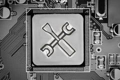 Circuitboard y Chip Concept fotografía de archivo