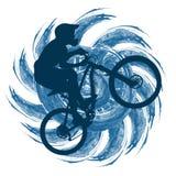 Circuite o ciclista em um fundo de uma figura abstrata Fotografia de Stock