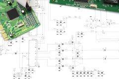 Circuiti e schema elettronico Immagine Stock Libera da Diritti