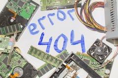 Circuiti elettronici su un fondo bianco, vista superiore, errore 404 dell'iscrizione Immagini Stock Libere da Diritti