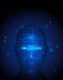 Circuito abstracto de la tecnología en rostro humano ilustración del vector