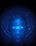 Circuito abstracto de la tecnología en rostro humano libre illustration