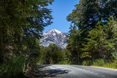 Circuito Chico hiking road with snowtopped Mountain on background - Bariloche, Patagonia, Argentina. Circuito Chico hiking road with snowtopped Mountain on royalty free stock photo