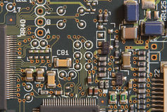 Circuito con i resistori ed i microprocessori Fotografie Stock Libere da Diritti