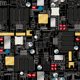 Circuito con le componenti ed il modello senza cuciture dei cavi Fotografie Stock