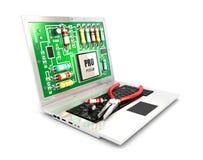 circuito 3d sullo schermo del computer portatile Immagine Stock Libera da Diritti