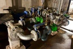 Circuito de agua del tubo en túneles Foto de archivo libre de regalías