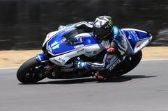 Circuito de MUGELLO - 13 de julho: Ben Spies Yamaha que compete na sessão de qualificação de MotoGP Prix grande de Itália, o 13 d Foto de Stock Royalty Free