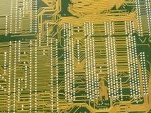 circuito de oro de la placa madre Foto de archivo