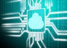 Circuito della matrice dello schermo dell'affissione a cristalli liquidi del simbolo della nuvola Immagine Stock