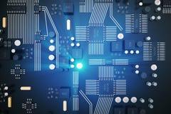 circuito della rappresentazione 3D Priorità bassa di tecnologia Concetto del CPU delle unità di elaborazione del computer central Immagini Stock Libere da Diritti