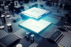 circuito della rappresentazione 3D Priorità bassa di tecnologia Concetto del CPU delle unità di elaborazione del computer central Fotografie Stock Libere da Diritti