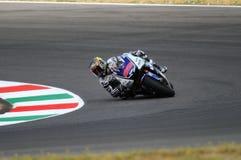 Circuito di MUGELLO - 13 luglio: Jorge Lorenzo del gruppo di Yamaha durante la sessione di qualificazione del Gran Premio di Moto Fotografie Stock Libere da Diritti