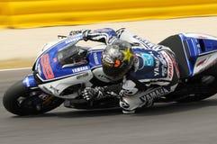 Circuito di MUGELLO - 13 luglio: Jorge Lorenzo del gruppo di Yamaha durante la sessione di qualificazione del Gran Premio di Moto Fotografie Stock
