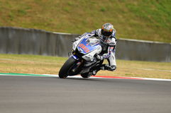 Circuito di MUGELLO - 13 luglio: Jorge Lorenzo del gruppo di Yamaha durante la sessione di qualificazione del Gran Premio di Moto Fotografia Stock Libera da Diritti