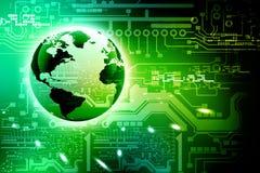 Circuito e mondo alta tecnologia astratti Fotografia Stock