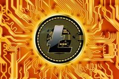 Circuito e moneta di cryptocurrency di Litecoin Immagine Stock