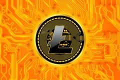 Circuito e moneta di cryptocurrency di Litecoin Fotografia Stock
