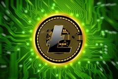 Circuito e moneta di cryptocurrency di Litecoin Fotografie Stock