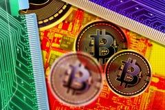 Circuito e monete di Bitcoin Fotografie Stock